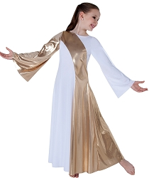 Childrens Praise Dance Metallic Asymmetrical Dress by Body Wrappers