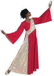 Adult Stained Glass Asymmetrical Bell Sleeve Dress by Body Wrappers